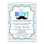 Oh Boy Moustache Baby Shower Invitations Chevron