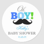 Oh Boy Moustache Baby Shower Party Favour Labels Round Sticker