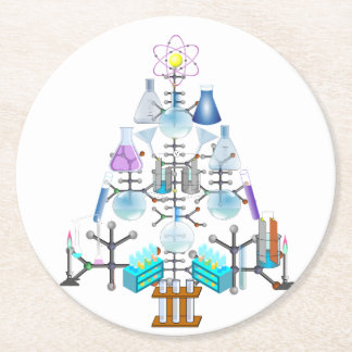 Oh Chemistry, Oh Chemist Tree Round Paper Coaster