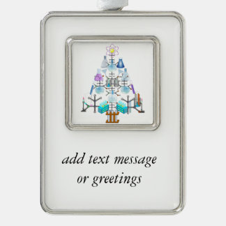 Oh Chemistry, Oh Chemist Tree Silver Plated Framed Ornament
