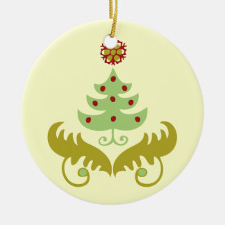 Oh Christmas Tree Double-Sided Ceramic Round Christmas Ornament