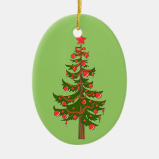 Oh, Christmas Tree Illustration on Green Christmas Ornament