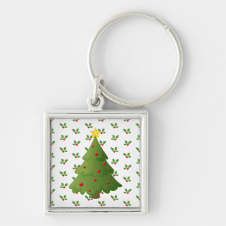 Oh Christmas tree Silver-Colored Square Key Ring