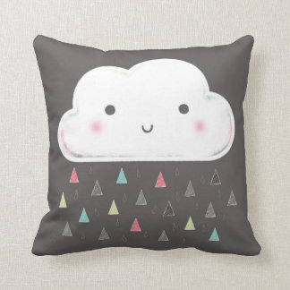 Oh cloud, it is raining triangles! + Monogram Throw Pillow