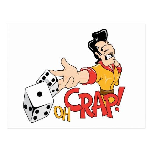 Oh Crap - Craps Table - Dice Game Humor Post Cards