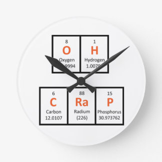 Oh Crap Periodic Table Wall Clock