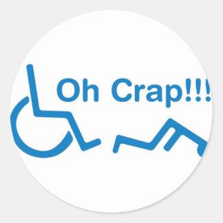 oh crap round sticker