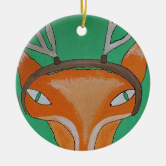 Oh Dearie Me Fox - by PaperTrees Round Ceramic Decoration
