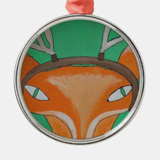 Oh Dearie Me Fox - by PaperTrees Silver-Colored Round Decoration