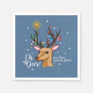 """Oh Deer"" Christmas Decoration Disposable Serviettes"