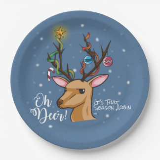 """Oh Deer"" Christmas Decoration Paper Plate"