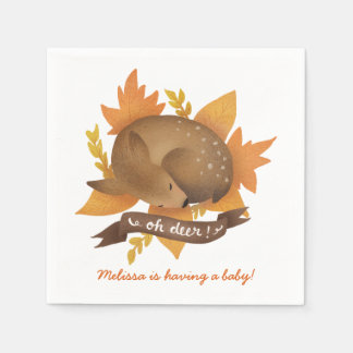 Oh deer! Fall Woodland Themed Neutral Baby Shower Disposable Serviette
