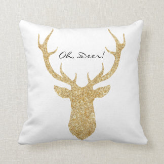 """Oh, Deer"" Faux Glitter Silhouette | Pillow"