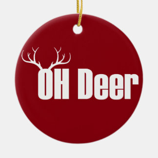 Oh Deer funny Christmas text with reindeer antlers Christmas Ornament