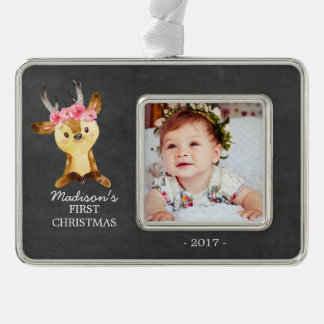 Oh Deer Girls Baby's 1st Christmas Photo Ornament