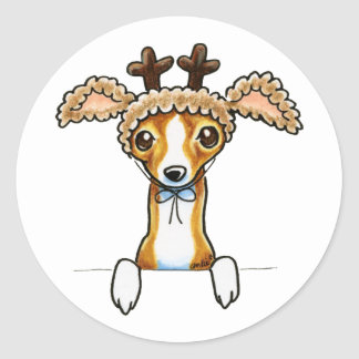 Oh Deer Italian Greyhound Classic Round Sticker