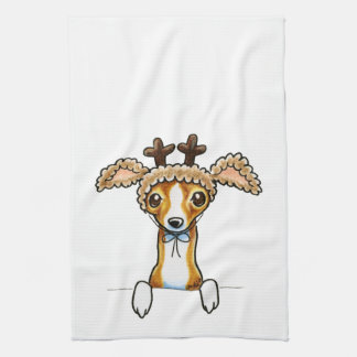 Oh Deer Italian Greyhound Tea Towel