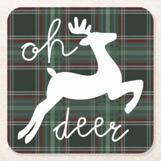 oh deer plaid square paper coaster