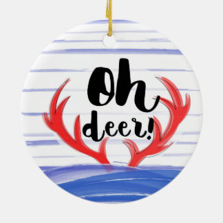"""Oh deer!"" with deer's hornes and snow Christmas Ornament"
