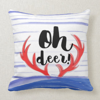 """""""Oh deer!"""" with deer's hornes and snow Cushion"""
