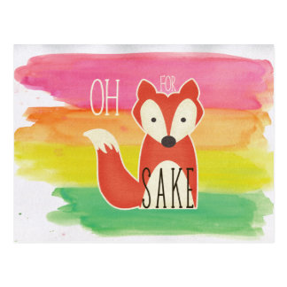 Oh For Fox Sake Watercolor Stripes Postcard
