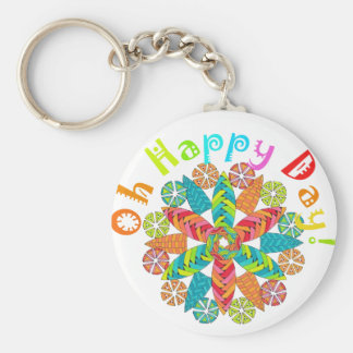 Oh Happy Day! Basic Round Button Key Ring