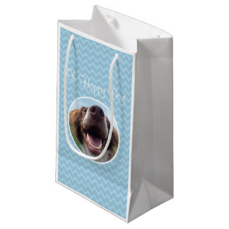 Oh Happy Day, Blue Chevron Smiling Rescue Dog Small Gift Bag