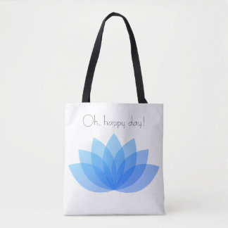 Oh, happy day blue lotus tote bag.