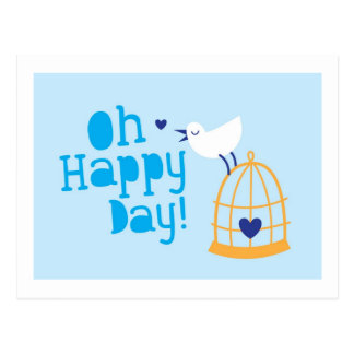 Oh Happy Day card and products with cute tweeting Postcard