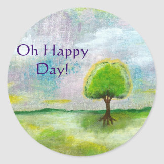 Oh Happy Day Design From Original Painting Round Sticker