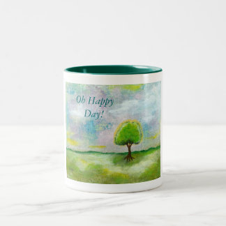 Oh Happy Day Design From Original Painting Two-Tone Mug