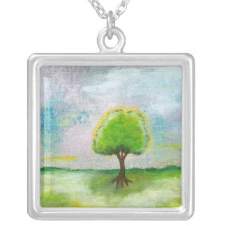 Oh Happy Day Square Pendant Necklace Painting