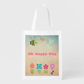 Oh Happy Day Whimsical Bumble Bee and Flowers