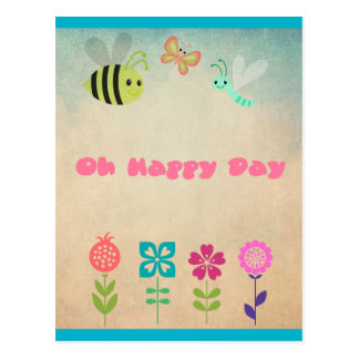Oh Happy Day Whimsical Flowers and Cheerful Bugs Postcard
