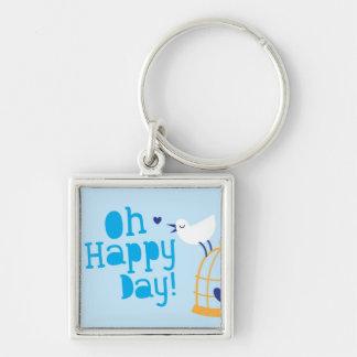 Oh Happy Day! with blue bird Keychain