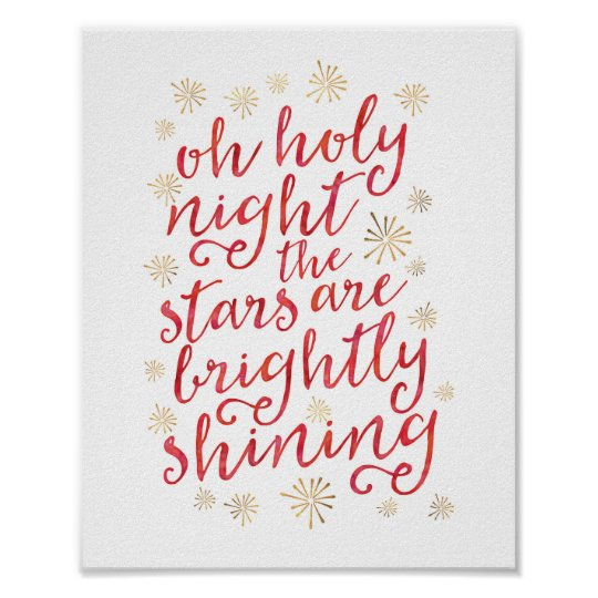 Oh Holy night watercolor Christmas print poster