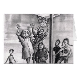 Oh, holy one. Religious playing basketball. Cards