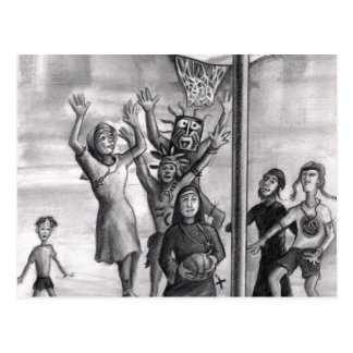 Oh, holy one. Religious playing basketball. Post Card