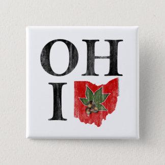 OH IO Typographic Ohio Vintage Red Buckeye Nut 15 Cm Square Badge