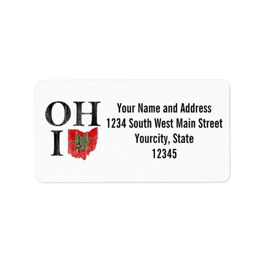 OH IO Typographic Ohio Vintage Red Buckeye Nut Address Label