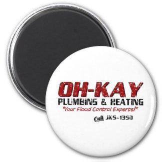 OH-KAY Plumbing Heating Distressed Fridge Magnets