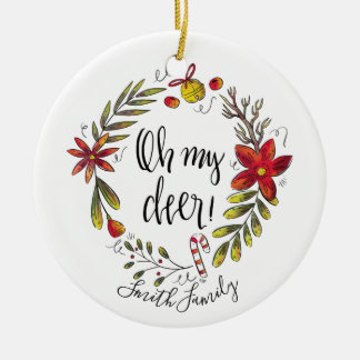 Oh my Deer! Funny Watercolor Hand Drawn Wreath Christmas Ornament