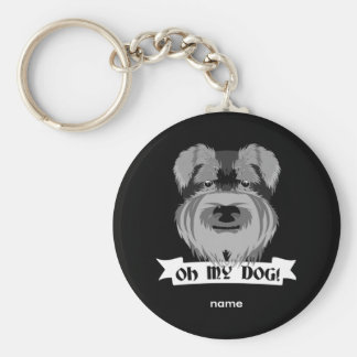 Oh My Dog Terrier Basic Round Button Key Ring