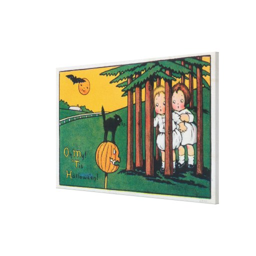 Oh My Tis Halloween Black Cat Scaring Kids Stretched Canvas Print