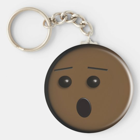 Oh No - Brown Basic Round Button Key Ring