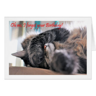 Oh no, I forgot your Birthday! Cat Happy beltaed Card