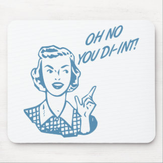 OH NO YOU DI-INT Retro Housewife Blue Mouse Pad
