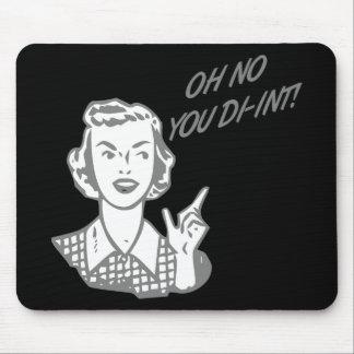 OH NO YOU DI-INT Retro Housewife Grey Mousepad