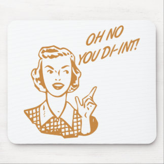 OH NO YOU DI-INT Retro Housewife Orange Mouse Pads
