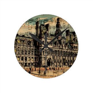 Oh Paris Round Clock